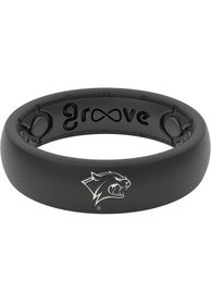 New Hampshire Wildcats Womens Thin White Logo Silicone Ring - Black