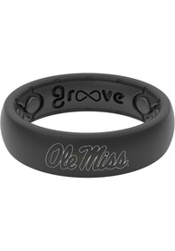 Ole Miss Rebels Womens Thin White Logo Silicone Ring - Black