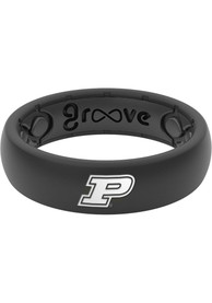 Purdue Boilermakers Womens Thin White Logo Silicone Ring - Black