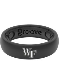 Wake Forest Demon Deacons Womens Thin White Logo Silicone Ring - Black