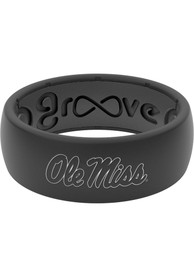 Ole Miss Rebels White Logo Silicone Ring - Black