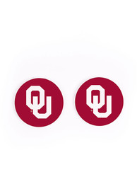 Oklahoma Sooners 2 Pack Color Logo Car Coaster - Red