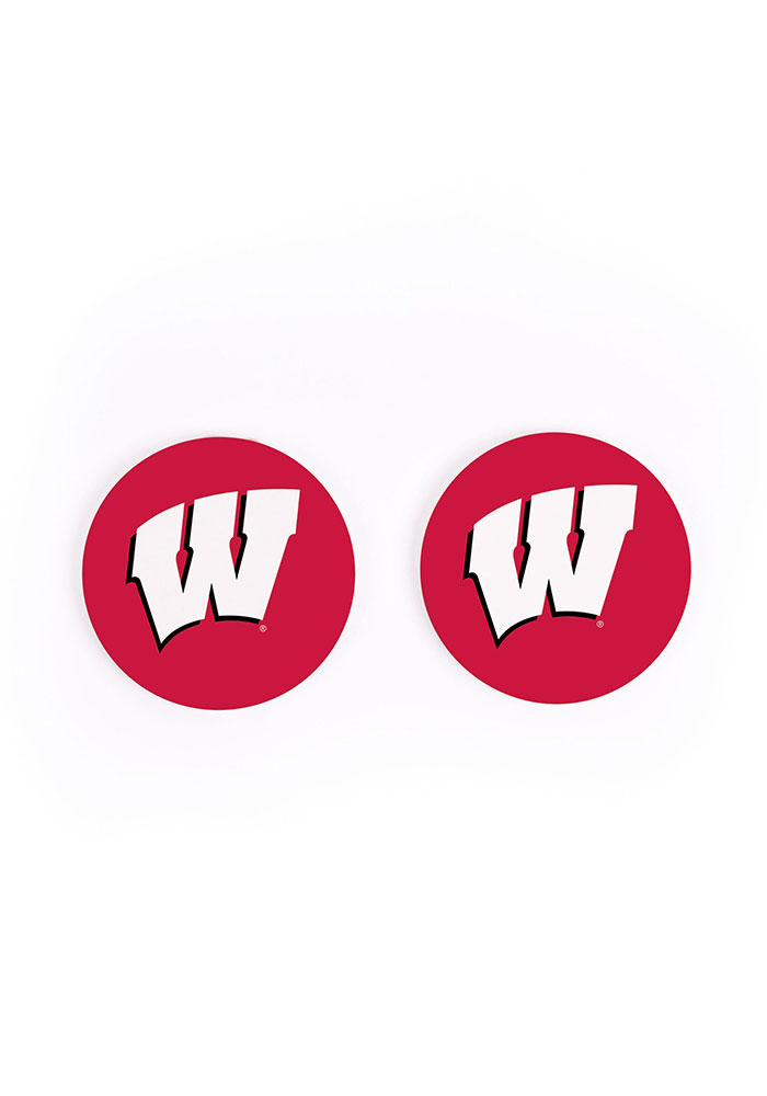 Wisconsin Badgers 2 Pack Color Logo Car Coaster - Red