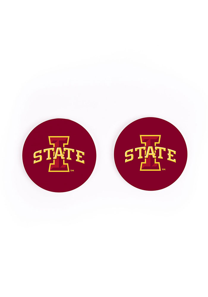 Iowa State Cyclones 2 Pack Color Logo Car Coaster - Red