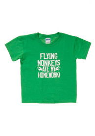Wizard of Oz Youth Green Flying Monkeys Ate My Homework Short Sleeve T Shirt