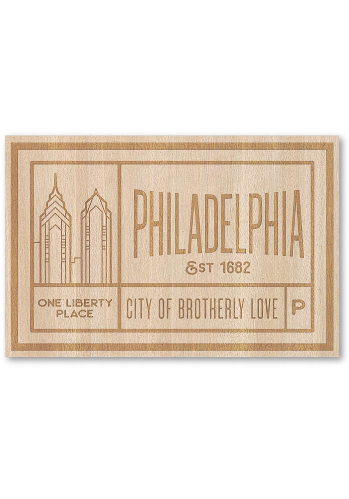 Philadelphia Wooden Rectangle Stickers - Image 1