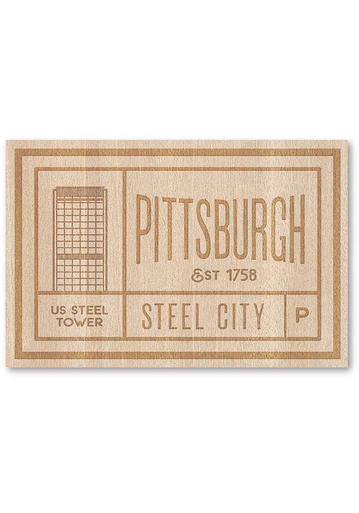 Pittsburgh Wooden Rectangle Stickers - Image 1