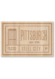 Pittsburgh Wooden Rectangle Stickers