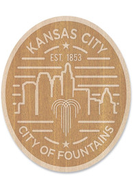 Kansas City Wooden Oval Cityscape Stickers