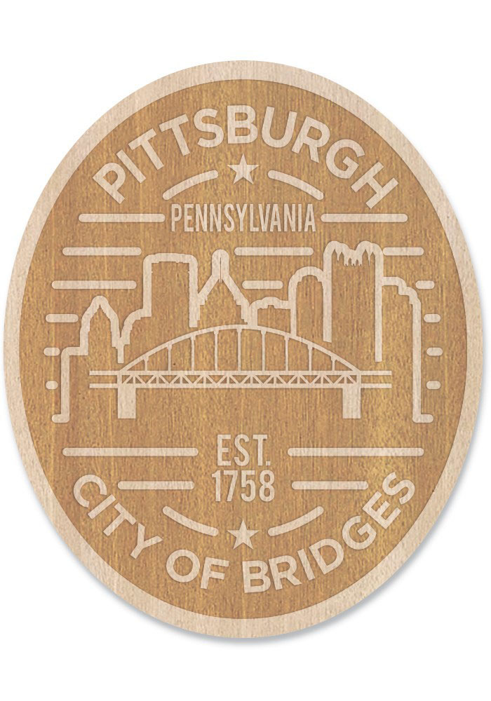 Pittsburgh Wooden Oval Cityscape Stickers - Image 1