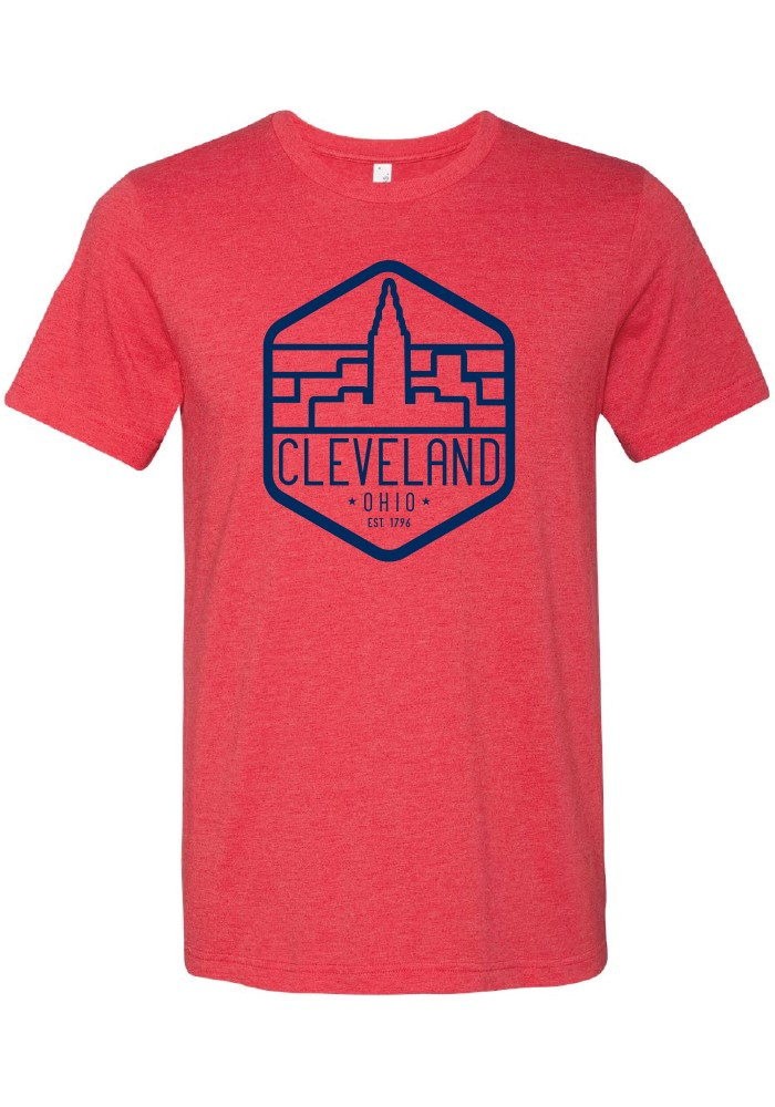 Cleveland Red Terminal Tower Trapezoid Short Sleeve T Shirt - Image 1