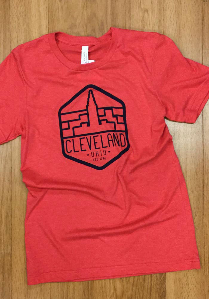 Cleveland Red Terminal Tower Trapezoid Short Sleeve T Shirt - Image 2