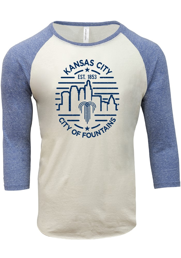 Kansas City Cream Skyline Raglan 3/4 Sleeve Triblend Shirt - Image 1