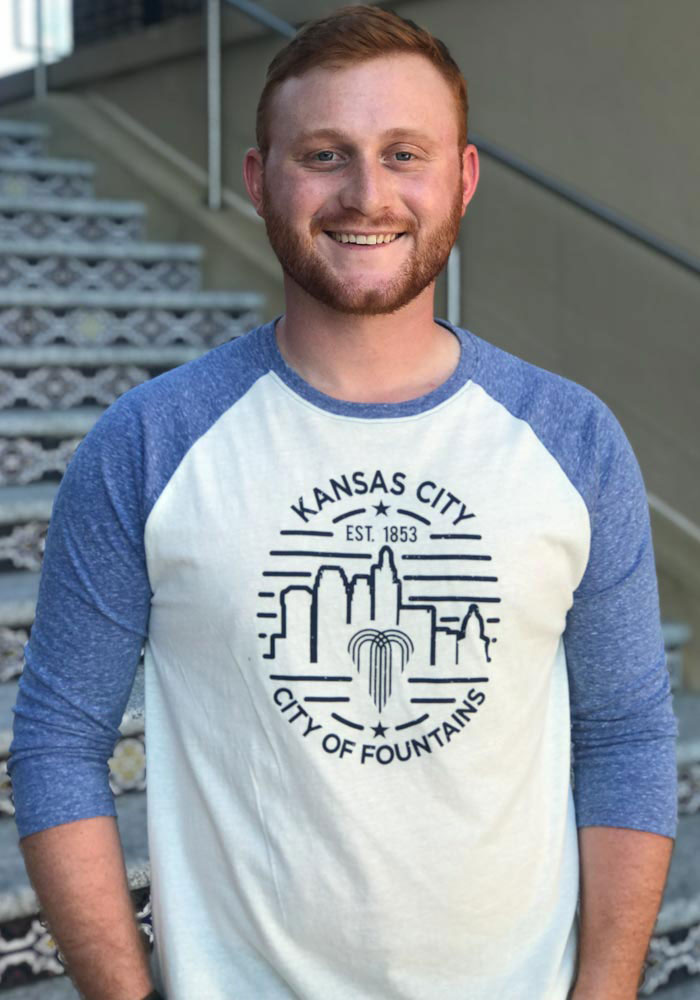 Kansas City Cream Skyline Raglan 3/4 Sleeve Triblend Shirt - Image 2
