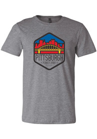 Pittsburgh Grey Bridge Skyline Trapezoid Short Sleeve T Shirt
