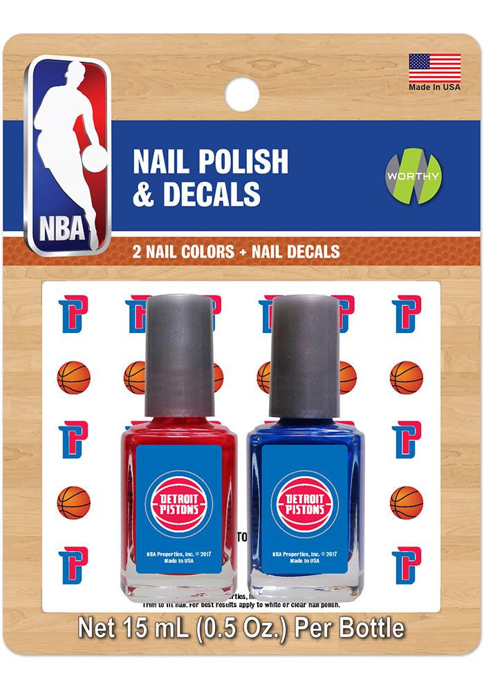 Detroit Pistons Nail Polish and Decal Set Cosmetics - Image 1