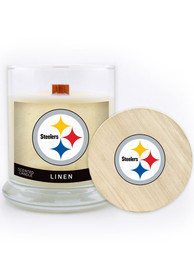 Pittsburgh Steelers Linen 8oz Glass Candle Bathroom Decor