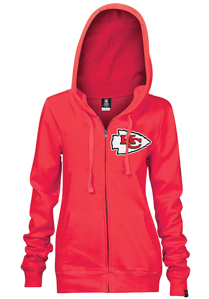 Kansas City Chiefs Womens Red Brushed Fleece Long Sleeve Full Zip Jacket - Image 1