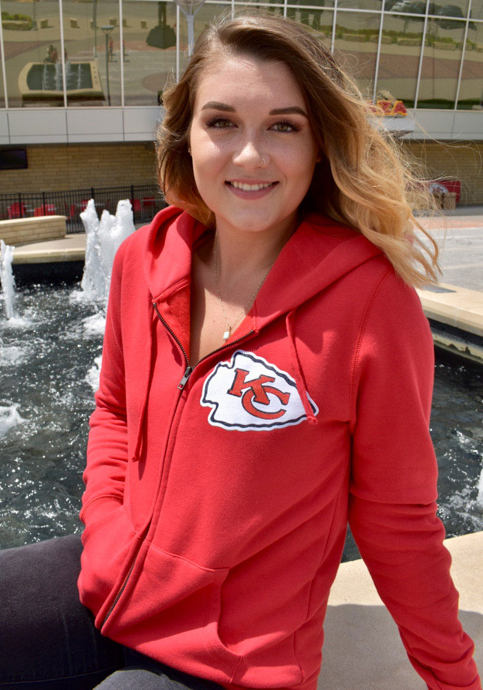 Kansas City Chiefs Womens Red Brushed Fleece Long Sleeve Full Zip Jacket - Image 2
