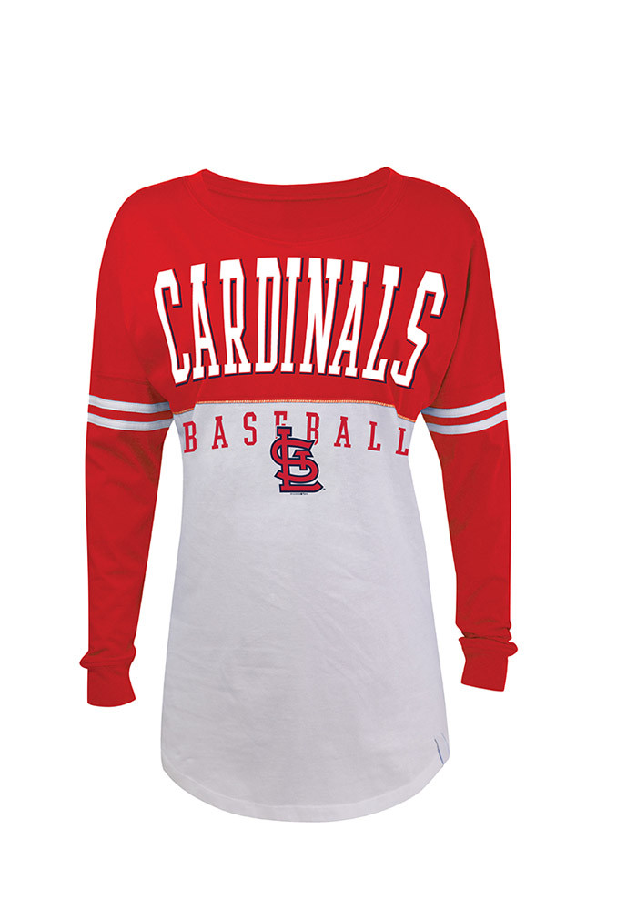 St Louis Cardinals Womens White Athletic LS Tee - Image 1