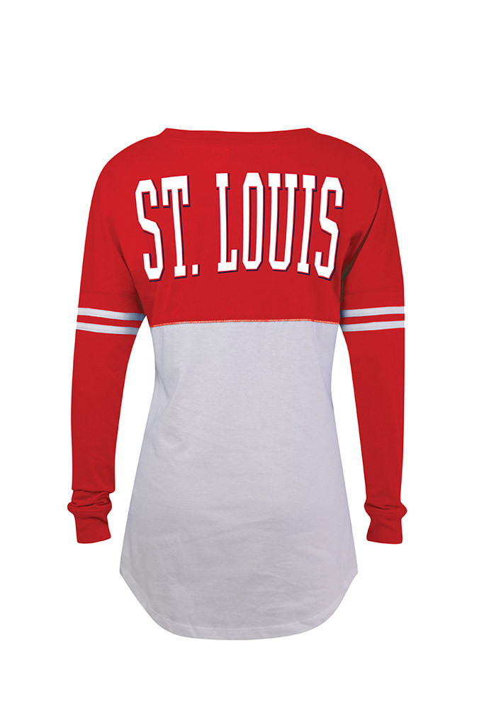 St Louis Cardinals Womens White Athletic LS Tee - Image 2