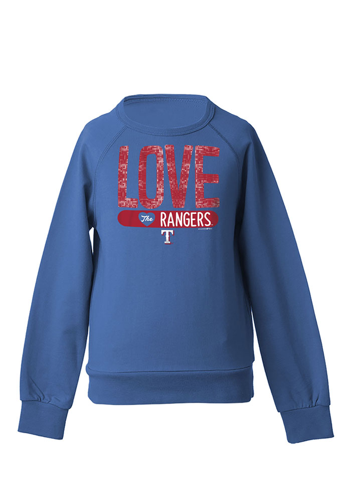 Texas Rangers Girls Blue Sequin Long Sleeve Sweatshirt - Image 1