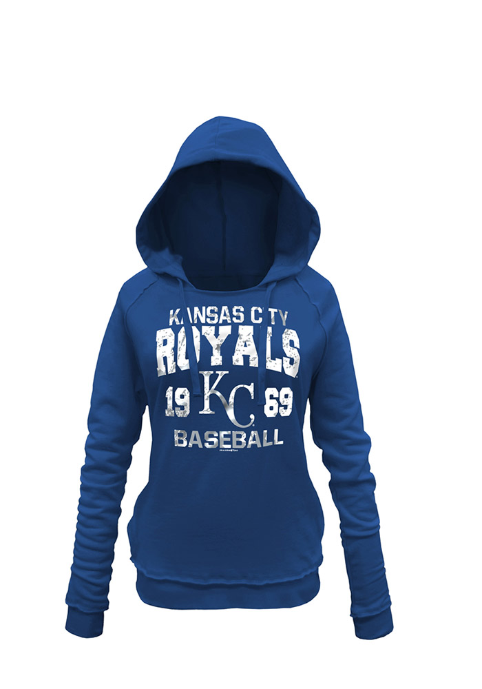Kansas City Royals Womens Blue Brushed Fleece Hooded Sweatshirt - Image 1