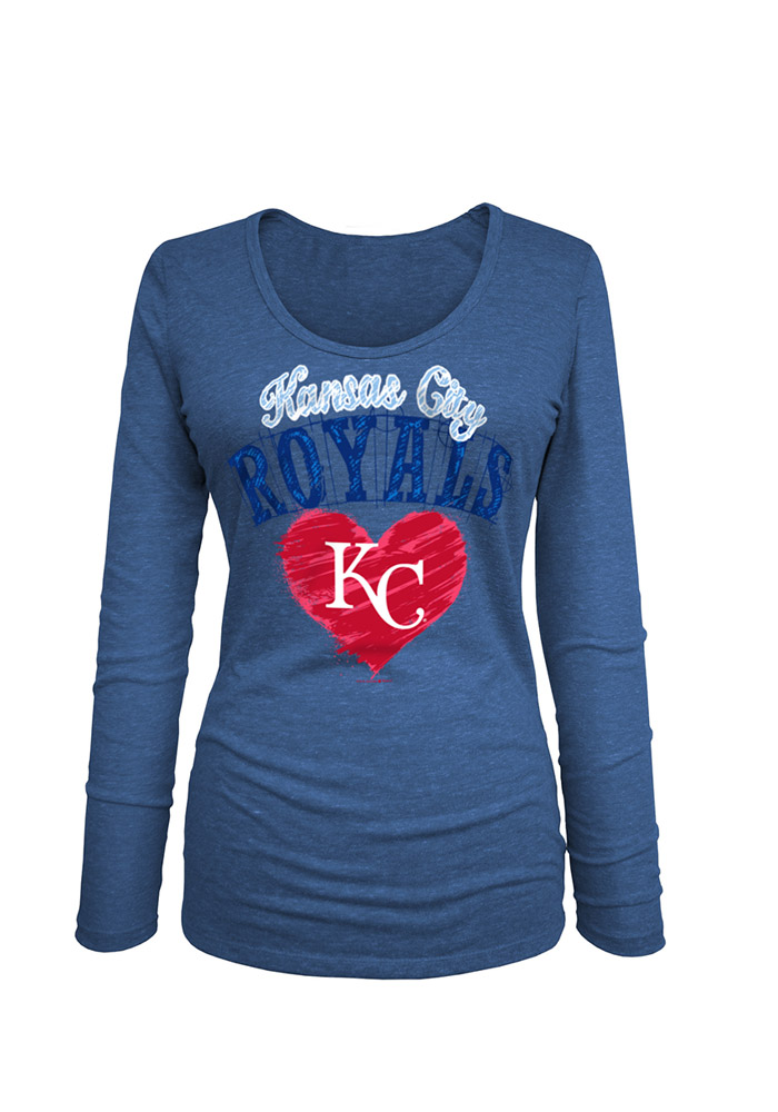 KC Royals Womens Blue Triblend Long Sleeve Scoop Neck - Image 1