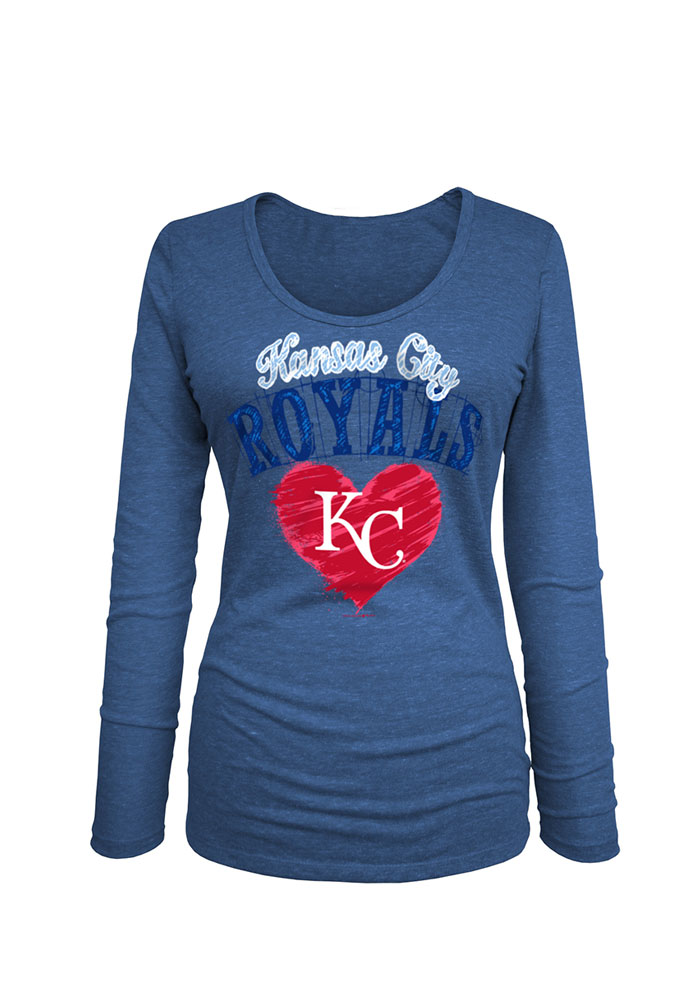 KC Royals Womens Blue Triblend Long Sleeve Scoop Neck - Image 2
