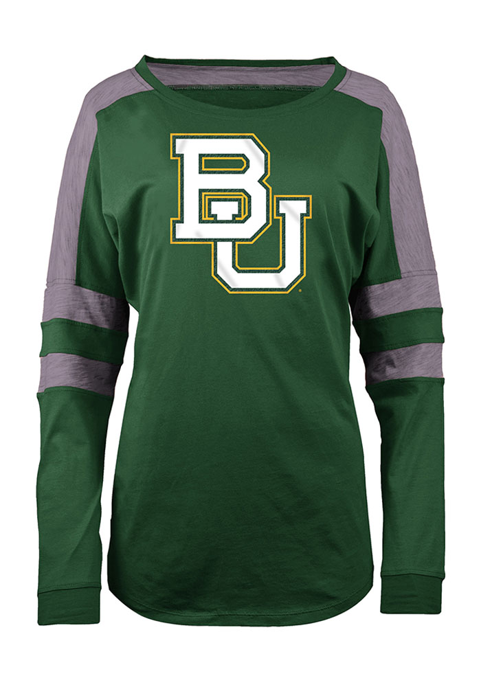 Baylor Bears Womens Green Athletic LS Tee - Image 1