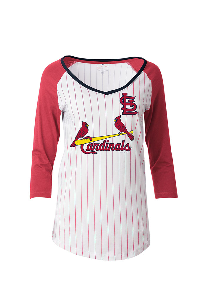 St Louis Cardinals Womens White Pinstripe Long Sleeve T-Shirt - Image 1
