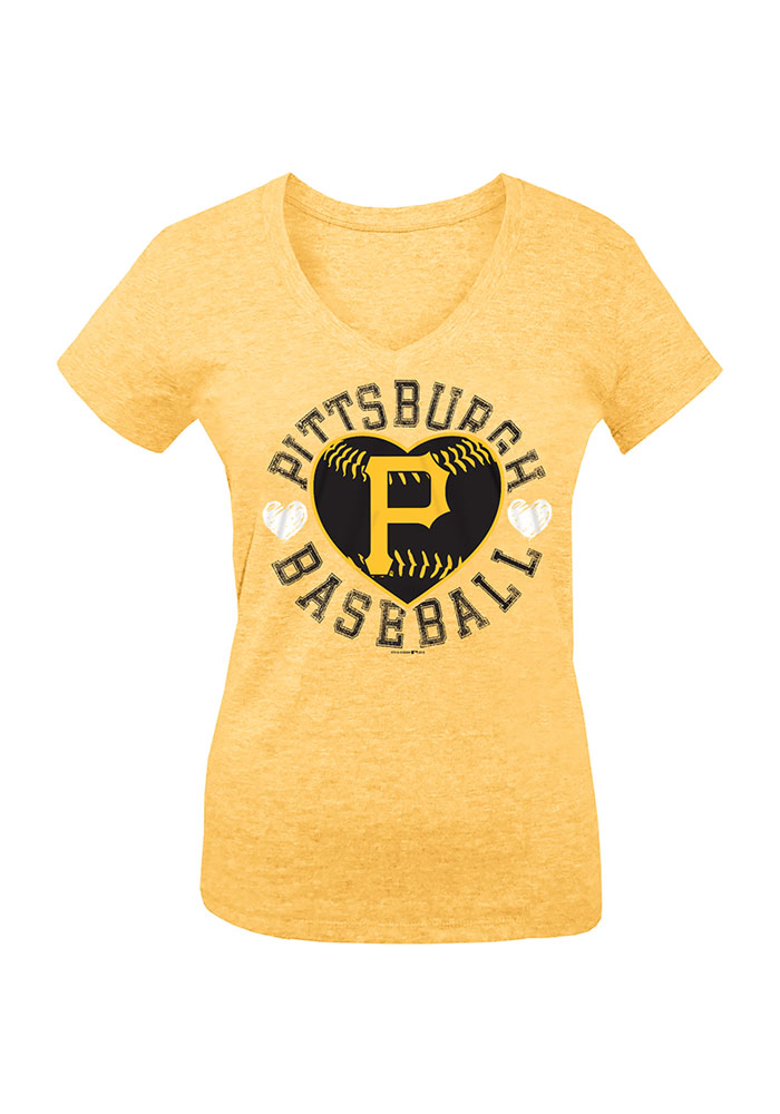 Pittsburgh Pirates Girls Gold Heart Short Sleeve Fashion T-Shirt - Image 1
