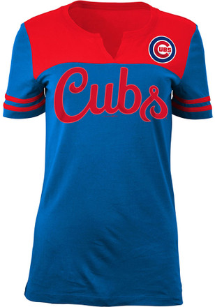 Chicago Cubs Womens Blue Athletic V-Neck