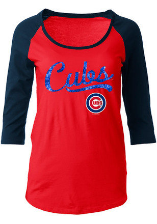 Chicago Cubs Womens Athletic Red Scoop Neck Tee