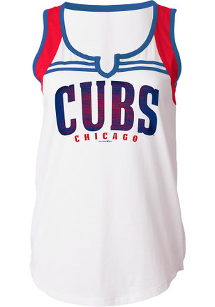 Chicago Cubs Womens White Athletic Tank Top