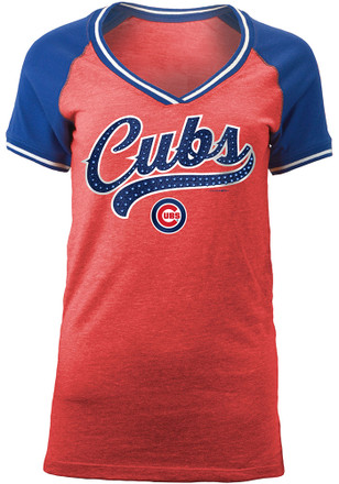 Chicago Cubs Womens Red Opening Night V-Neck
