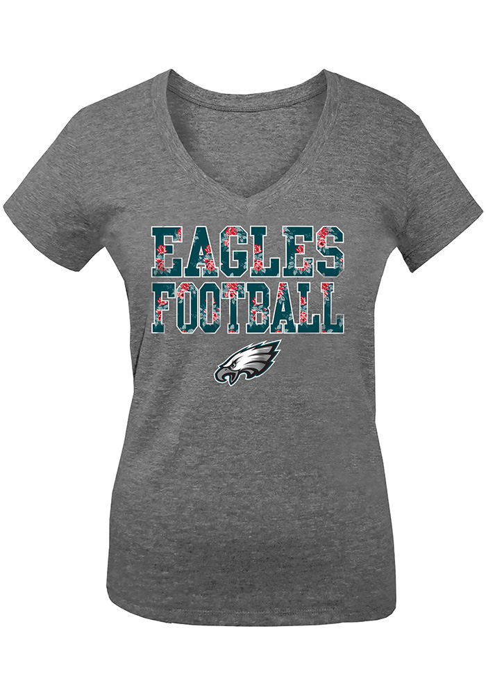 Philadelphia Eagles Girls Grey Floral Short Sleeve Fashion T-Shirt - Image 1