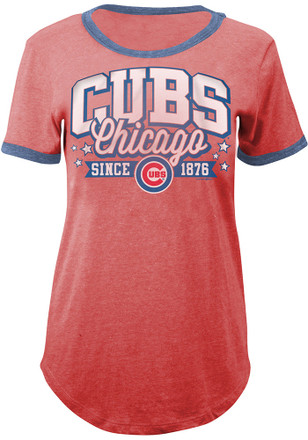 Chicago Cubs Womens Red Tri-Blend T-Shirt