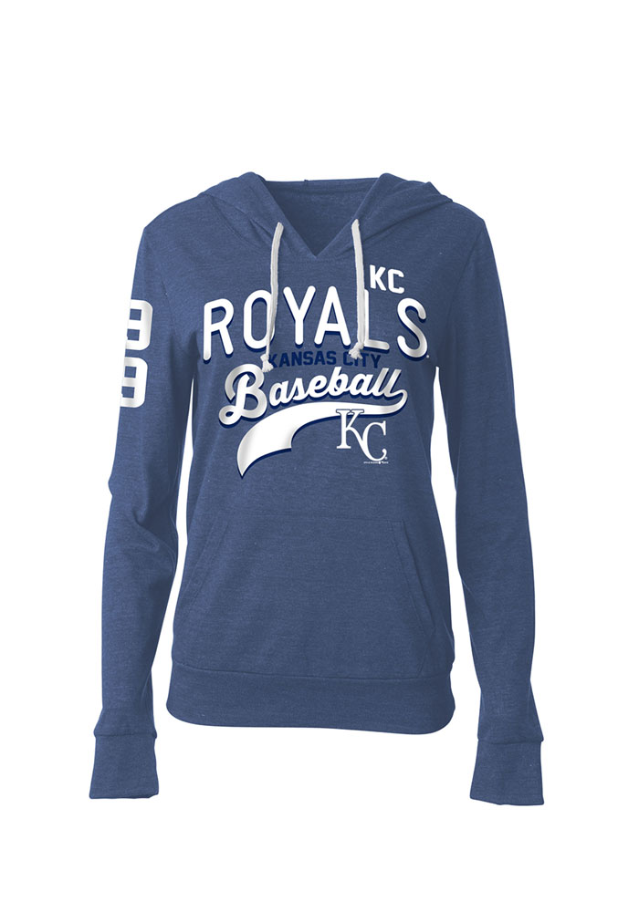 Kansas City Royals Womens Blue Tri Blend Pull Over Hooded Sweatshirt - Image 1