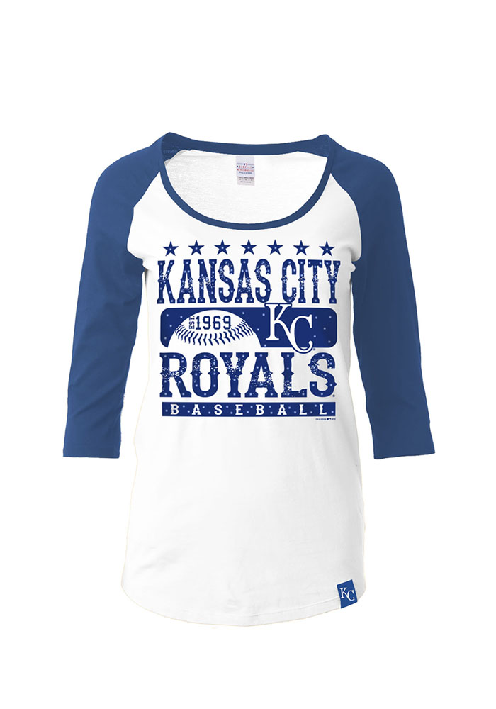 KC Royals Womens White Athletic Long Sleeve Scoop Neck - Image 1
