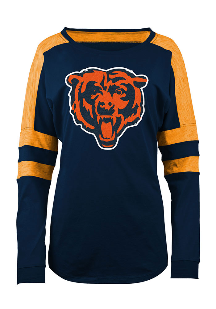 Chicago Bears Womens Navy Blue Athletic Long Sleeve Scoop Neck - Image 1