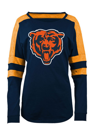 Chicago Bears Womens Athletic Navy Blue Scoop Neck Tee