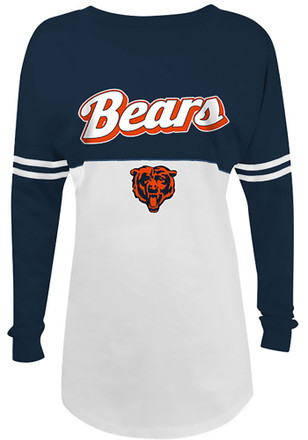 Chicago Bears Womens Athletic White LS Tee