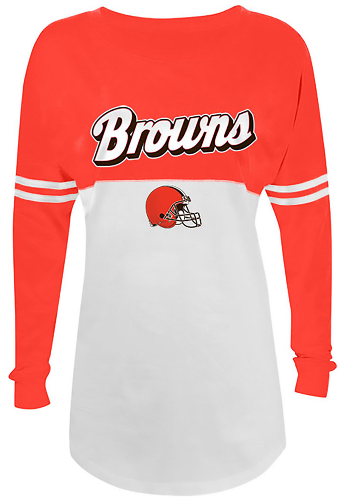 Cleveland Browns Womens White Athletic LS Tee - Image 1