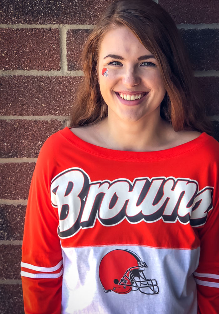 Cleveland Browns Womens White Athletic LS Tee - Image 2