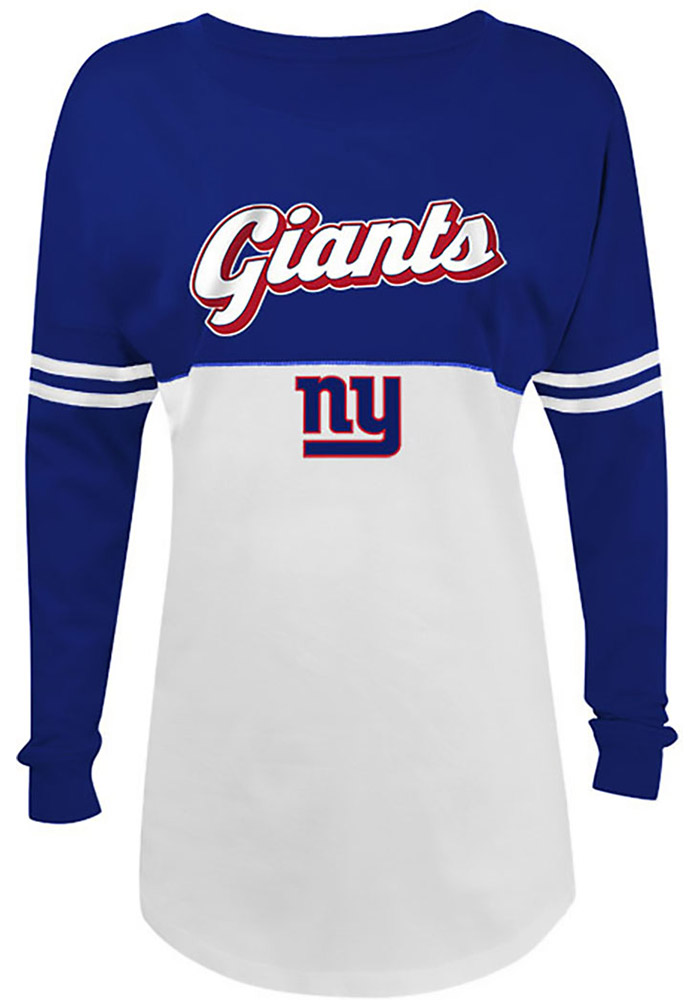 New York Giants Womens White Athletic Long Sleeve Crew T-Shirt - Image 1