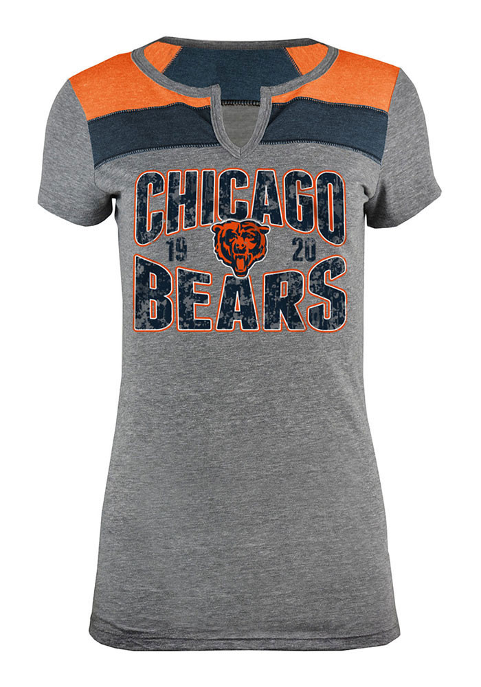 Chicago Bears Womens Grey Tri-Blend Scoop T-Shirt - Image 1