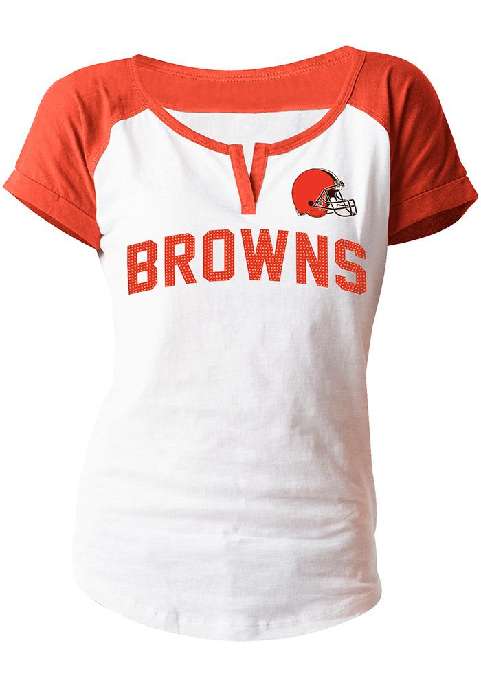 Cleveland Browns Womens White Slub Scoop T-Shirt - Image 1