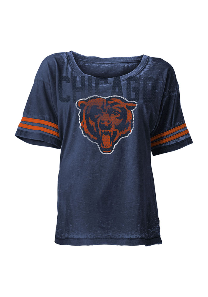 Chicago Bears Womens Navy Blue Boyfriend Scoop T-Shirt - Image 1