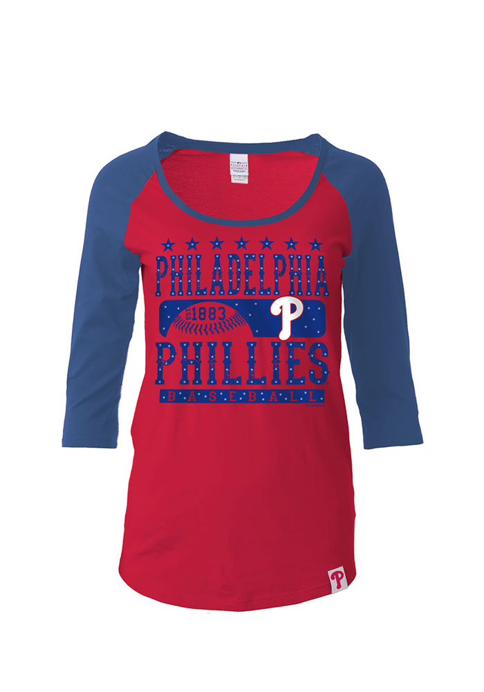 Phillies Womens Red Athletic Long Sleeve Scoop Neck - Image 1